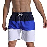 Milankerr Men's Swim Trunk Beach Shorts (L(Waistline:36''-38''), NavyBlue)