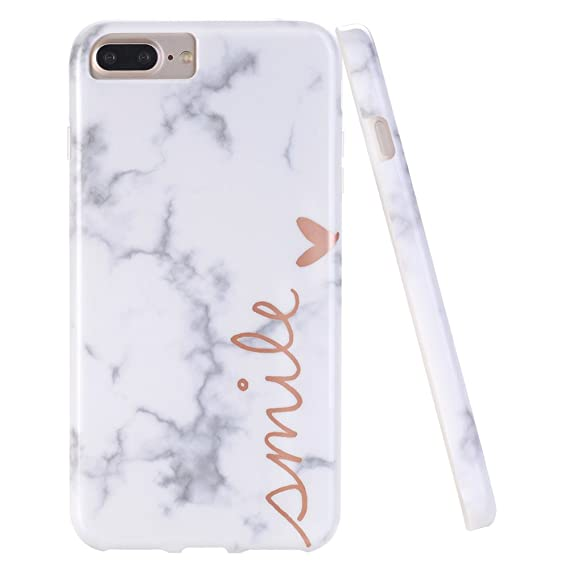 buy popular e0b91 82666 DOUJIAZ iPhone 7 Plus Case,iPhone 8 Plus Case,Marble Design Anti-Scratch  &Fingerprint Shock Proof Thin Non Slip Silicone Hard Protective Cover  iPhone ...