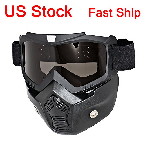 LEAGUE&CO Motorcycle Goggles Mask Detachable, Protect Padding Helmet Sunglasses, Face Cover Goggles Removable Mask for Motocross Dirtbike Off Road Racing Open Face Helmet (Smoke - For Sunglasses Face Types