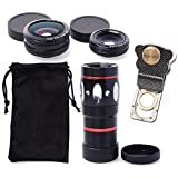 SODIAL(R) 4in1 Phone Lens 10X Telephone Lens + Wide Angle Macro + Fish Eye lens for iPhone /Samsung Galaxy /ipad / ipod and other smartphone (Black)