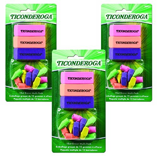 Ticonderoga Office and School Eraser Combination Set, 15 Eraser Multi-Pack, Multicolored (38931)(3Pack)