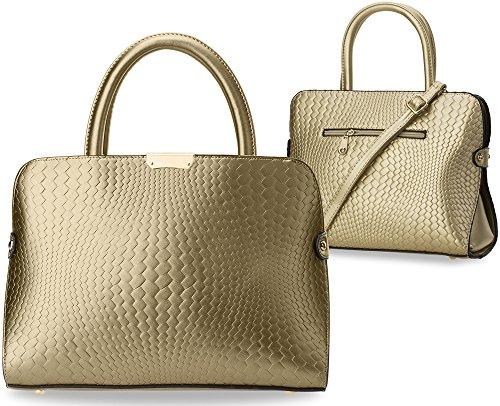 elegante Damentasche Bowling Bag mit Kroko - Prägung Handtasche City - Tasche gold