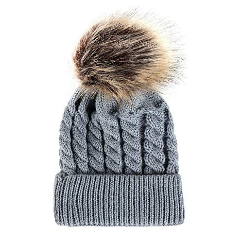 Ankola Baby Winter Warm Knit Hat Infant Toddler Kid Crochet Hairball Beanie Cap (6M-3T, Gray)