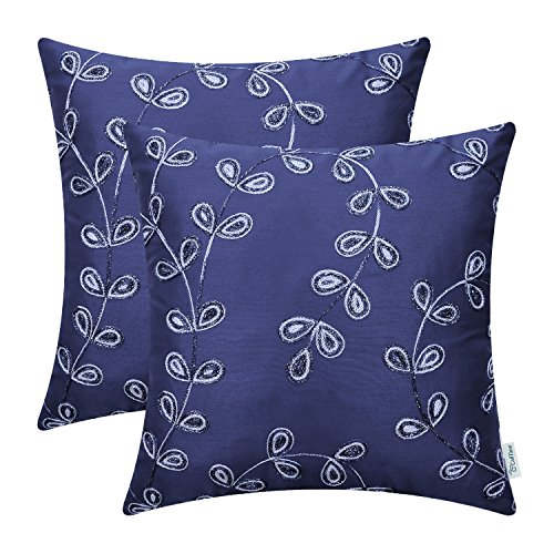CaliTime Pack of 2 Faux Silk Throw Pillow Covers Cases for Sofa Couch Home Decoration 18 X 18 Inches Fantasy Gradient Growing Leaves Chain Embroidered Navy Blue