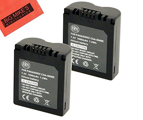 BM Premium Pack of 2 CGA-S006 Batteries for Panasonic Lumix DMC-FZ7, DMC-FZ8, DMC-FZ18, DMC-FZ28, DMC-FZ30, DMC-FZ35, DMC-FZ38, DMC-FZ50 Digital Camera