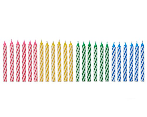 American Greetings 24 Count Party Supplies Colorful Striped Spiral Birthday Candles, Pink/Yellow/Green/Blue (Cake Candles Pink Striped)