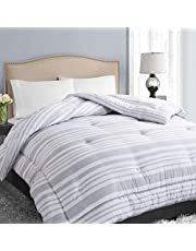 Soft Quilted Down Alternative Comforter All Season Hotel Collection Reversible Duvet Insert with Corner Ties, Warm Fluffy
