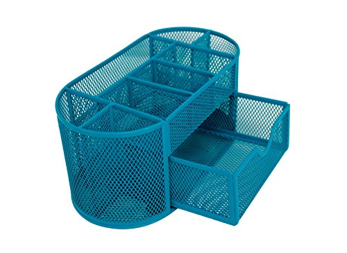 Mesh Desk Organizer 9 Components Office Accessories Supply Caddy with Drawer (Teal) by Noe&Malu