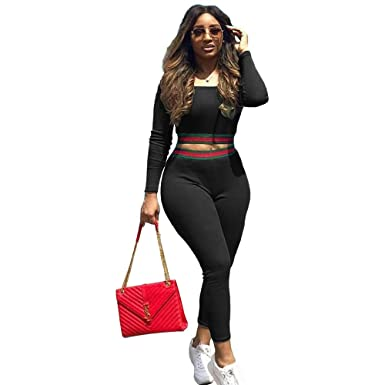 4130ce6b9c0 Women s Casual Long Sleeve Off Shoulder Tracksuit Solid Crop Tops Skinny Long  Pants Set 2 Piece Outfits Jumpsuits at Amazon Women s Clothing store