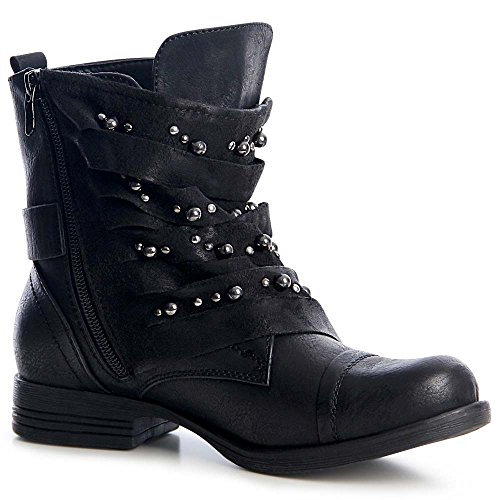 topschuhe24 1242 Damen Worker Boots Stiefeletten Nieten Schwarz