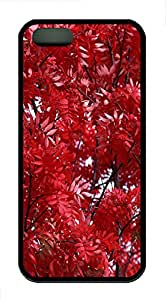 iPhone 5s Cases & Covers - Red Leaves Custom TPU Soft Case Cover Protector for iPhone 5s - Black