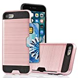 iPhone 5S Case, Jwest iPhone SE Wallet Case Impact Resistant Hybrid Armor Defender Snap-on Black Soft Rubber Bumper Cover Skin Protective Shell with Card Slot Holder for iPhone SE/5S/5 - Rose Gold
