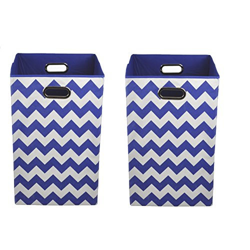 Kidsline Basket - Modern Littles Organization Bundle Laundry Bins, Bold Blue Chevron, 2 Count
