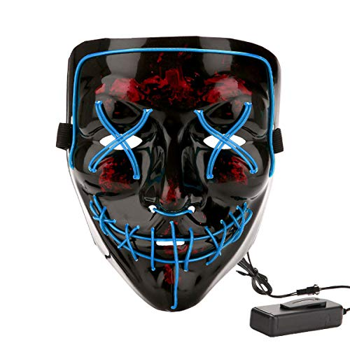 Halloween Costume Festival Parties Scary Mask LED Light Up Masks Blue ()