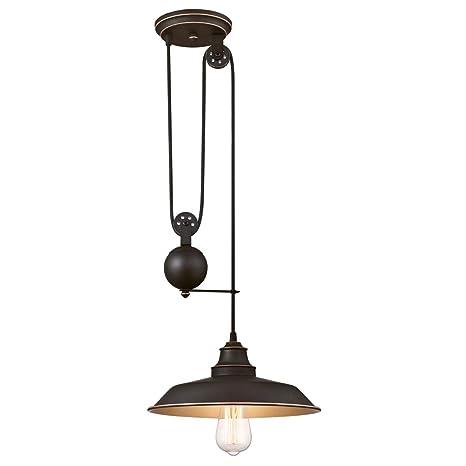 Westinghouse aceitado 63632 Luminaria colgante de interior de una lámpara, acabado en bronce frotado con aceite con reflejos, Techo 1 luz