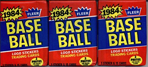 3 Unopened Packs of 1984 Fleer Baseball Cards (15 cards/pack) - Possible Rookies Of Don Mattingly, Darryl Strawberry and more! -