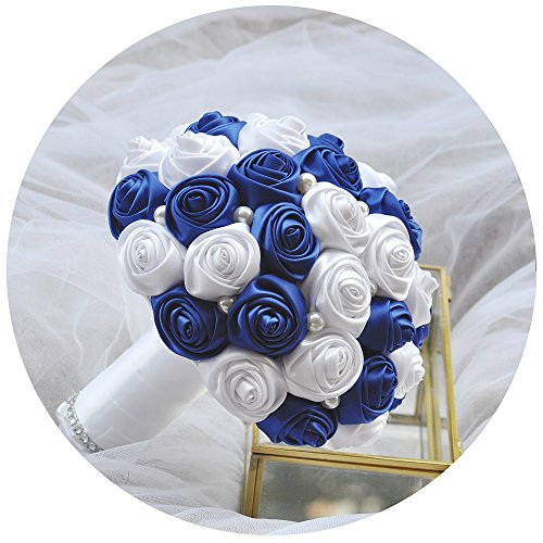 ULAPAN Wedding Bouquets For Bride,Silk roses Bouquets,Bridal Bouquets Holding Flowers,Artificial Flowers Home Wedding Decoration,Burgundy,F4
