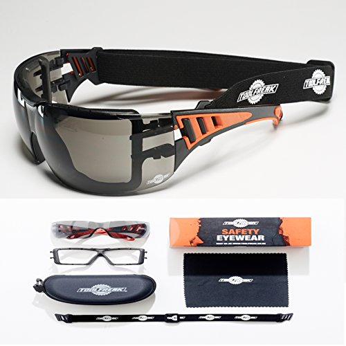 ToolFreak-Safety Glasses with Foam Padding | Protective Eyewear For Men & Women | Anti Scratch and Anti Fog Reduction To Enhance Vision | Maximum UV Protection | Eva Zip Case - Glasses Large Extra Case Safety