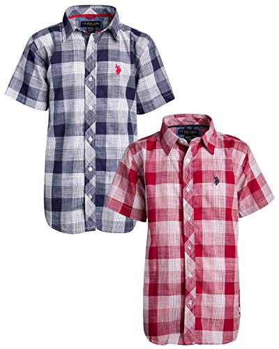 U.S. Polo Assn. Boys Short Sleeve Woven Shirt (2 Pack), Navy/Red Plaid, Size 10/12'