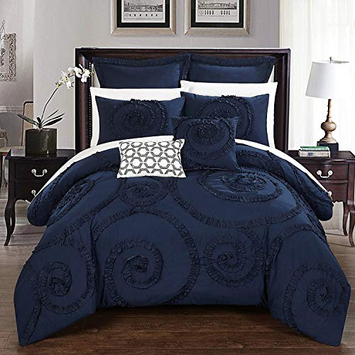 Chic Home CS2213-AN 7 Piece Rosalia Floral Ruffled Etched Embroidery Comforter Set, King, Navy from Chic Home