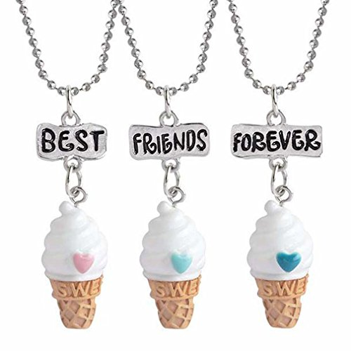 MJartoria Best Friends Forever Colorful Ice Cream Friendship Necklaces Set of 3