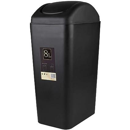 Amazoncom Abuff Black Lidded Trash Can Bathroom Plastic Tall Slim
