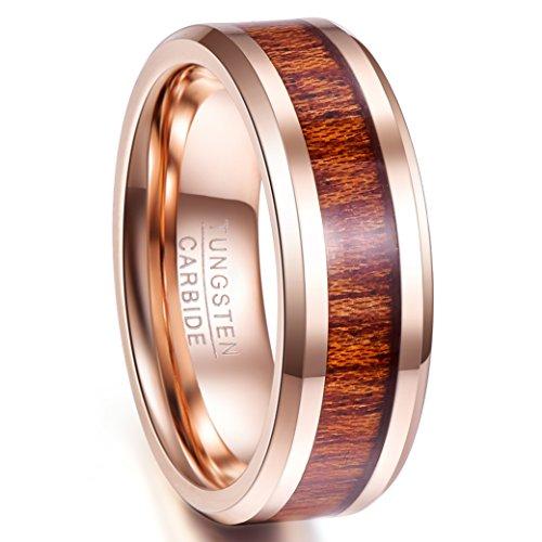 Hawaiian Wedding (Nuncad 8mm Men's Hawaiian Koa Wood Tungsten Carbide Wedding Ring Rosed Gold Plated Polished Beveled Edge Size 9)