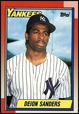 buy popular dd0e1 918ab Amazon.com: 1990 Topps Baseball #61 Deion Sanders New York ...