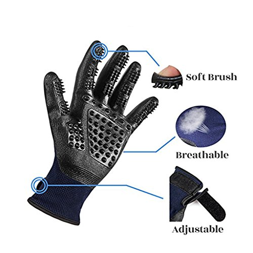 Pet Grooming Mitt Glove -Gentle Deshedding Glove Heavy Duty Deshedding Tool For Cats, Dogs & Horses Short, Long Hair Removal - Pair Of Left & Right Black Mitt,Blue,5Pair by LCYCN (Image #2)