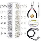 EuTengHao 1310pcs Silver Open Jump Ring and Lobster Clasps Jewelry Repair Tools Jewelry Making Supplies Kit with Jewelry Making Accessories for Necklace Making Repair (Dull Silver and Bright Silver)