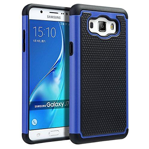 UARMOR Case for Samsung Galaxy J7 J710 2016 release, Hybrid Dual Layer Armor Shock Absorption Anti-scratch Protective TPU & Hard Rugged PC Case, Black + Blue