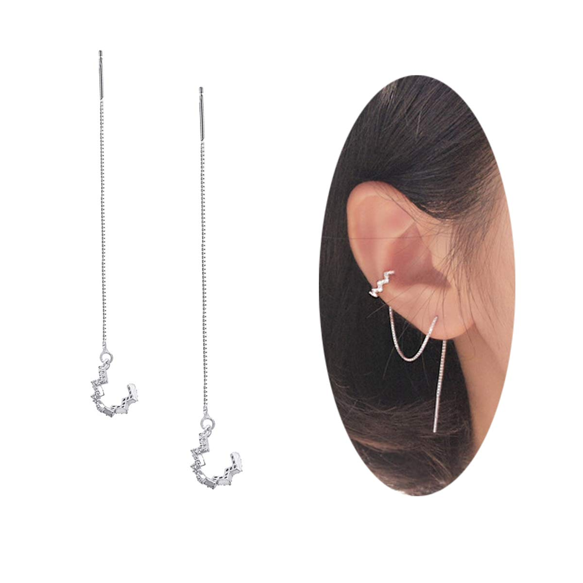FarryDream 925 Sterling Silver New Arrival Wave Cuff Chain Earrings Wrap Tassel Earrings for Women Perfect Valentine's Day Gifts