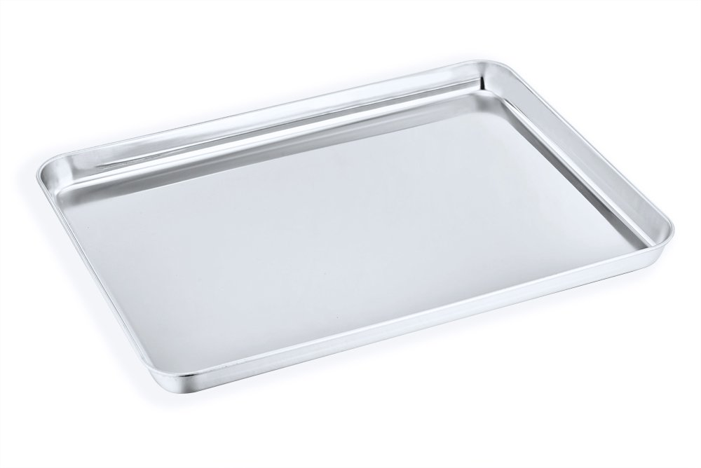 Large Baking Sheet, P&P Chef Stainless Steel Cookie Sheet Baking Pan Tray, Rectangle 16''x12''x1'', Healthy & Non Toxic, Mirror Finish & Dishwasher Safe