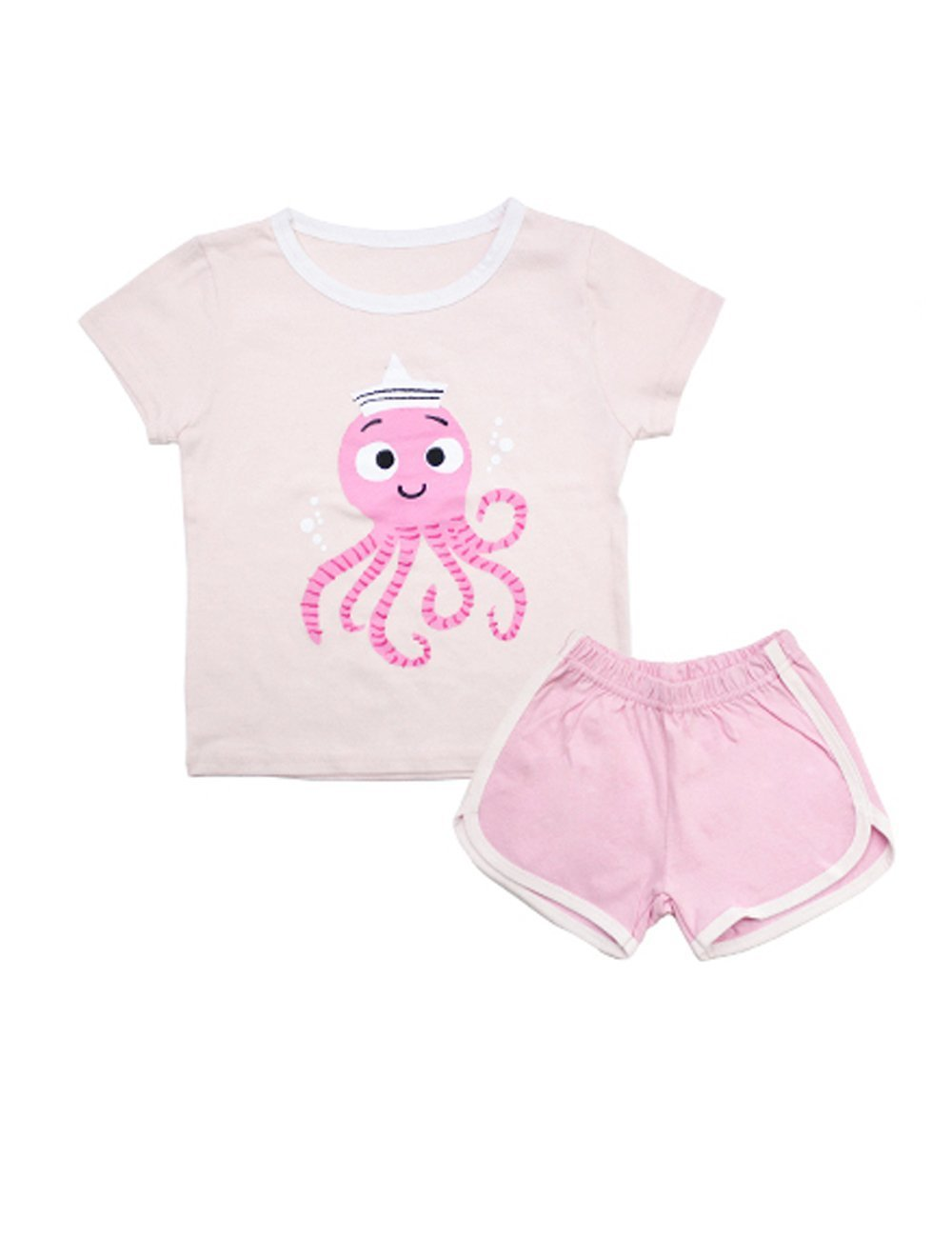 10STAR11 Girls Cute 100% Cotton Durable Colorful Patterned T-Shirt and Shorts Clothing Set S277,9