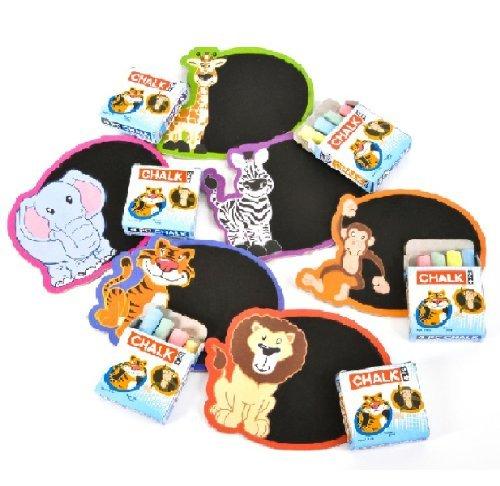Jungle Magnets - ~ 12 ~ Zoo Safari Mini Chalkboard Magnet Sets ~ New ~ Lion, Tiger, Elephant, Giraffe, Zebra, Monkey
