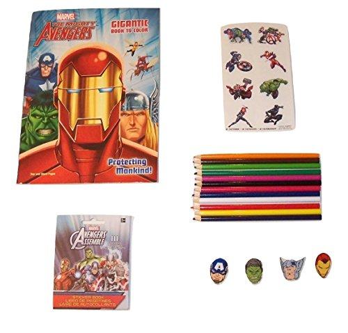 Marvel AvengersアクティビティGiftセット~保護Mankind ( Gigantic Book toカラー、ステッカー、Tattoos、Shaped Erasers、色鉛筆; 5項目、1バンドル)の商品画像