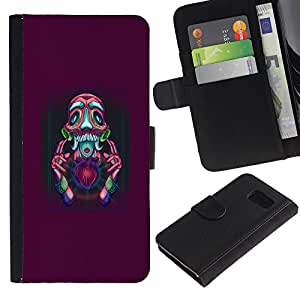 KLONGSHOP // Tirón de la caja Cartera de cuero con ranuras para tarjetas - Resumen Psycho - Samsung Galaxy S6 //
