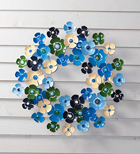 Handcrafted Metal Blue Floral Wreath