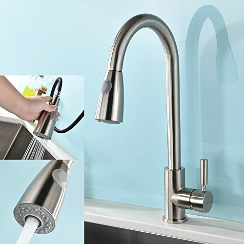 VAPSINT Modern Stainless Steel Single Handle Single Hole Pull Out Spray Kitchen Faucet, Brushed Nickel Pull Down Kitchen Sink Faucets, UPDATED VERSION !!!
