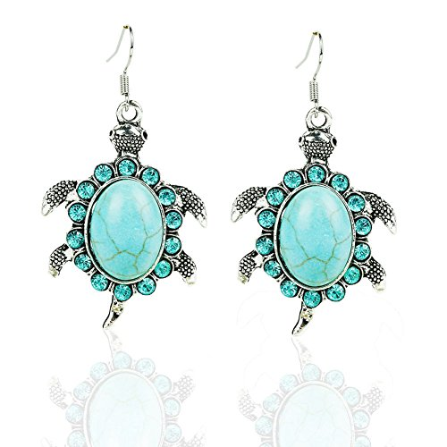 Meenanoom Sea Turtle Shape Turquoise Pendant Earrings Hook Women Fashion Jewelry One ()