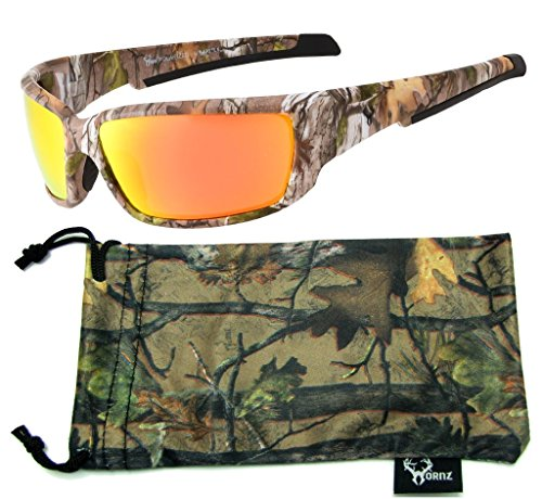 Hornz Brown Forest Camouflage Polarized Sunglasses for Men Full Frame Strong Arms & Free Matching Microfiber Pouch - Brown Camo Frame - Orange Lens