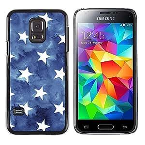 ZONECELL ( NO PARA S5) Negro Borde Trasera Funda Imagen Carcasa Diseño Tapa Cover Skin Case para Samsung Galaxy S5 Mini, SM-G800, - estrellas rayas EE.UU. azul bandera americana