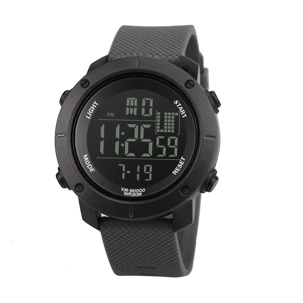 Mens Watches Clearance,Luxury Men Analog Watch Digital Military Sport LED Waterproof Wrist Watch(Gray) by Woaills Watch