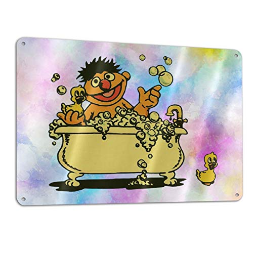 Nanjinqie Vintage Ernie in Bathtub Sign for Yard, Aluminum, Wall Signs Hall Cafe DIY Patterns Pictures, Sign Measures 11.8