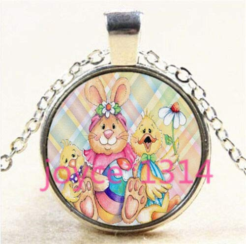 FidgetKute Vintage Easter Rabbit Cabochon Tibetan Silver Glass Chain Pendant Necklace #5600
