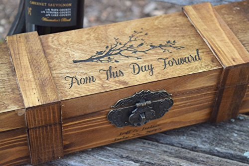 Personalized Wine Box - Love Birds Wine Capsule with Lockable Hinge - Lockable Wine Box - Personalized Gift - Wine Box Gift
