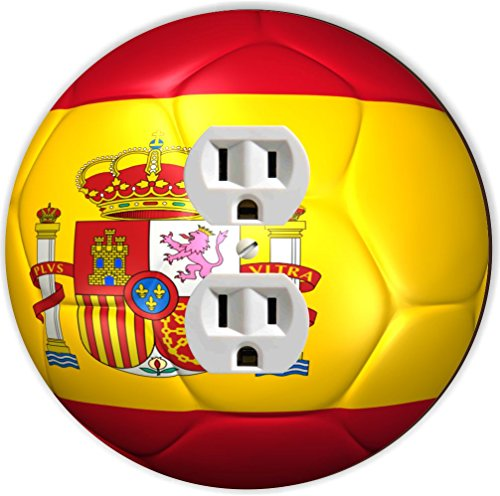 Rikki Knight RND-OUTLET-67 Spain Team World Cup Flag Soccer Ball Football Round Single Outlet Plate by Rikki Knight