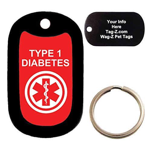 Custom Engraved Pet Tag - medical alert TYPE 1 DIABETES - Dog Tag - Tag-Z Wag-Z