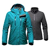 OutdoorMaster Women's 3-in-1 Ski Jacket - Winter Jacket Set with Fleece Liner Jacket & Hooded Waterproof Shell - for Women (Ocean Green,S)