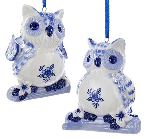 Delft Blue Owls Old World Christmas Holiday Ornaments Set of 2